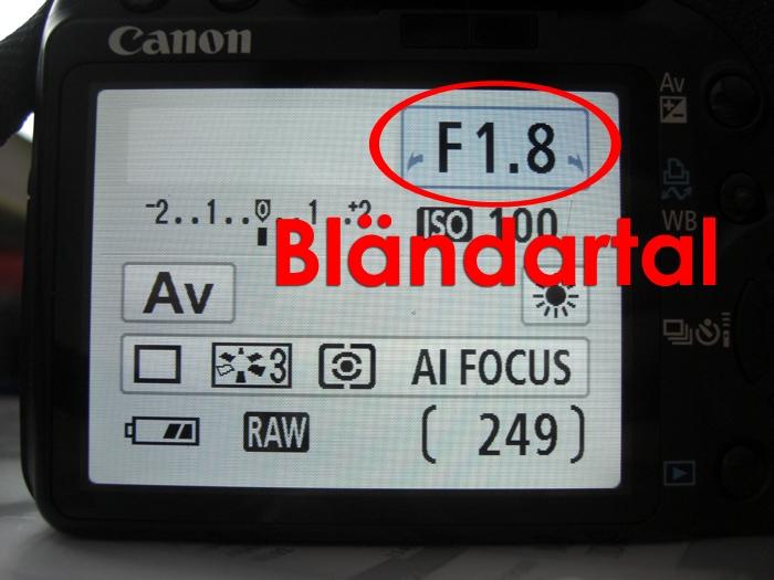 Manuell bländare inställning på Canon kamera