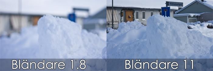Snöhög med olika bländaretal